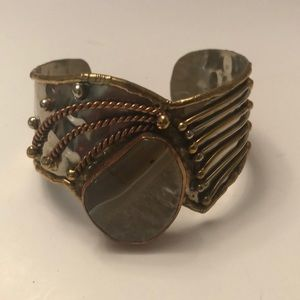 Vintage hammered bronze cuff with stone